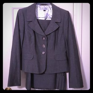 Grey Tahari Skirt Suit with Lots of Details